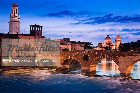 Ponte Pietra over Adige River, Verona, Veneto, Italy