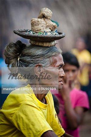 Woman with Basket on Head, Waihola Village, Sumba, Indonesia