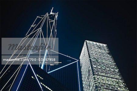 Bank of China Tower at Night, Hong Kong, China