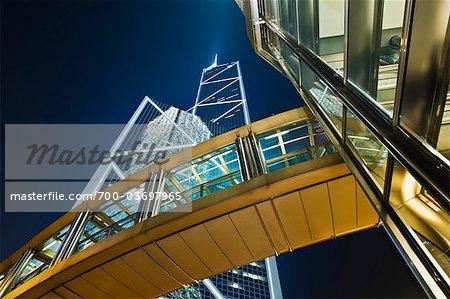 Financial District at Night, Hong Kong, China