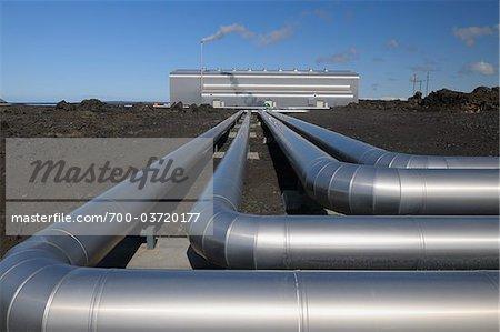 Pipes, Geothermal Energy Plant, Blue Lagoon, Grindavik, Reykjanes, South Iceland, Iceland