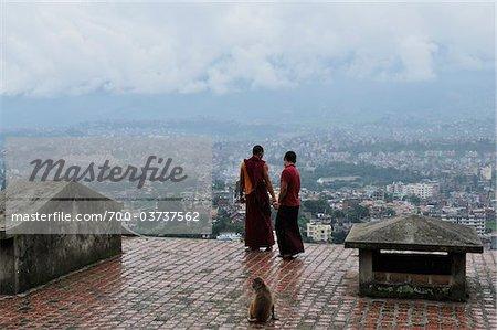Monks at Swayambhunath, Kathmandu, Bagmati, Madhyamanchal, Nepal