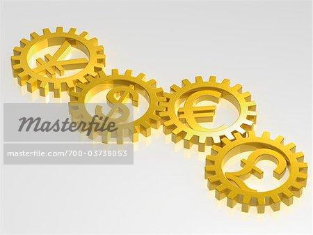 International Monetary Symbols in Gold Cogs