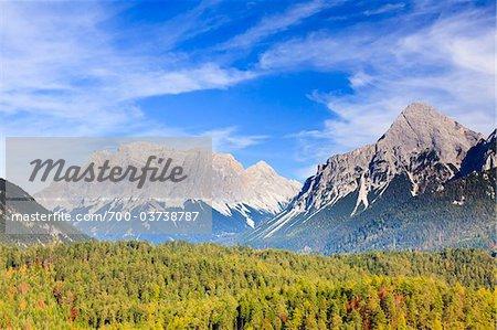 Zugspitze Moutain, seen from Fern Pass, Tyrolean Alps, Austria