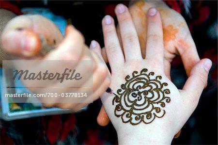 Moroccan Woman Making Henna Tattoo, Marrakech, Morocco