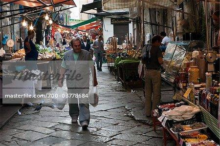 People Shopping at Vucciria Market, Vucciria District, Palermo, Sicily, Italy