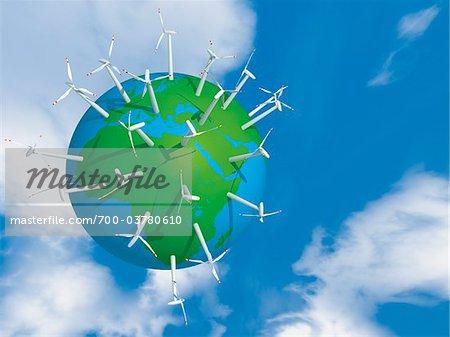 Wind Turbines on Planet Earth