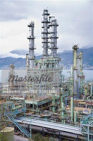 Chevron Oil Refinery on Burrard Inlet, Burnaby, British Columbia, Canada