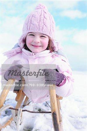 Portrait of Girl on Sled