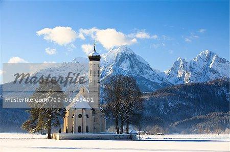 St. Coloman Church and Allgau Alps, Schwangau, Ostallgau, Bavaria, Germany