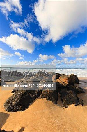 Volcanic Rocks on Beach, Waimea Bay, O'ahu, Hawaii