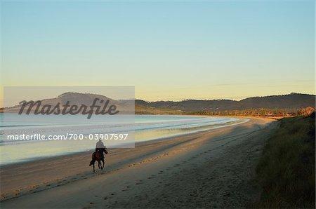 Man Riding Horse, Frederick Henry Bay, Seven Mile Beach, Tasmania, Australia