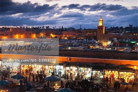 Jemaa el-Fnaa at Dusk, Marrakech, Morocco