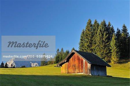 Barn in Bavarian Alps, Klais, Werdenfelser Land, Upper Bavaria, Bavaria, Germany