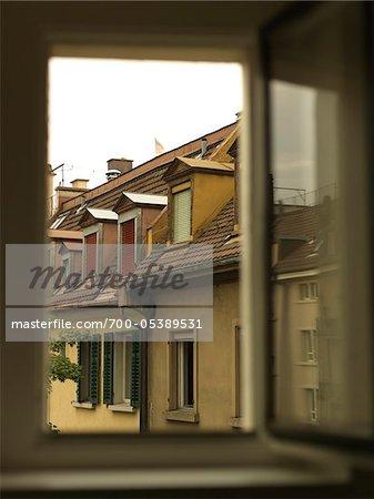View of Houses Through Open Window, Zurich, Switzerland