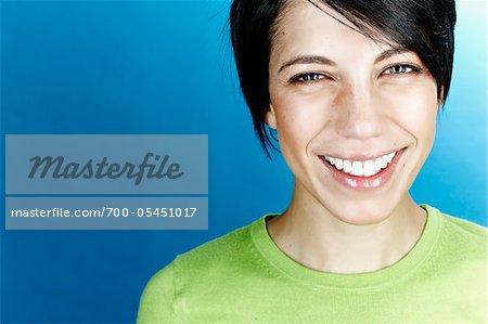 Close-Up Portrait of Woman in Studio