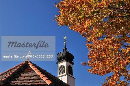 Detail of Roof and Steeple, Chapel Maria Rast, near Krun, Oberbayern, Bavaria, Germany