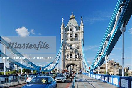 Tower Bridge with Traffic, London, England