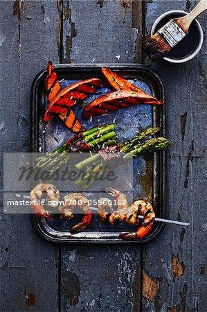 Shrimp Skewers and Grilled Vegetables