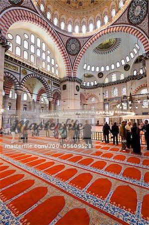 Tourists Inside Suleymaniye Mosque, Istanbul, Turkey