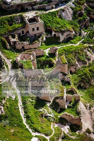 Aerial View of Ruins from Uchisar Castle, Uchisar, Cappadocia, Turkey