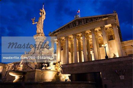 Pallas-Athene Fountain and Austrian Parliament Building, Vienna, Austria