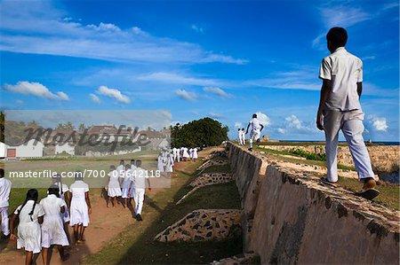 Schoolchildren Walking along Walls of Galle Fort, Galle, Sri Lanka
