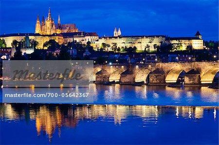 Prague Castle at Night, Prague, Czech Republic