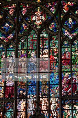 Stained Glass Window, St. Vitus Cathedral, Prague Castle, Prague, Czech Republic