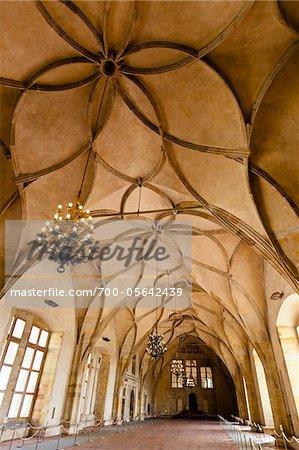 Interior of Vladislav Hall, Prague Castle, Prague, Czech Republic