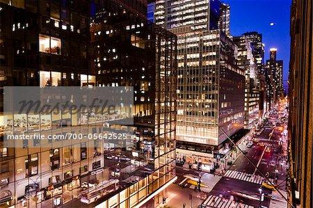 Madison Avenue at Night, New York, New York, USA