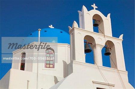 Church and Bell Tower, Oia, Santorini Island, Greece