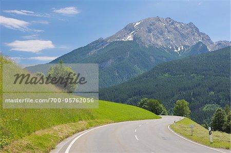 View of Watzmann Mountain from Deutsche Alpenstrasse, Berchtesgaden, Upper Bavaria, Germany
