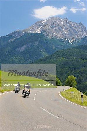 Motorcyclists on Deutsche Alpenstrasse in front of Watzmann Mountain, Berchtesgaden, Upper Bavaira, Germany