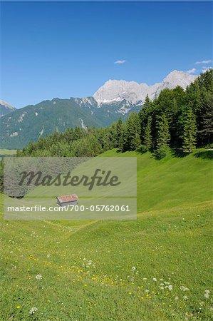 Hut in Meadow, Karwendel Mountains, Mittenwald, Garmisch-Partenkirchen, Upper Bavaria, Germany