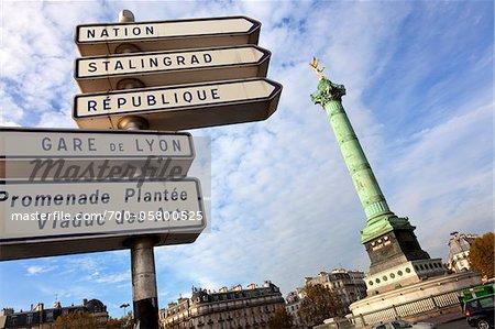 Place de la Bastille and Signs, Paris, France