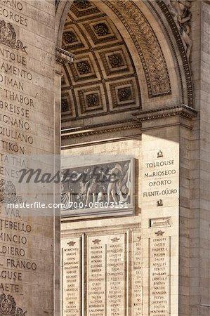 Detail of Arc de Triomphe, Paris, France
