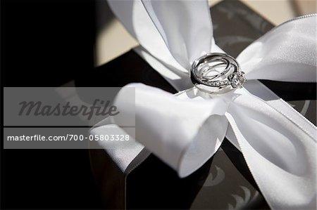 Wedding Rings on White Satin Bow