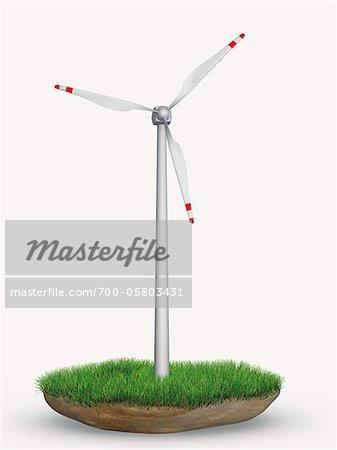 Wind Turbine in Patch of Grass