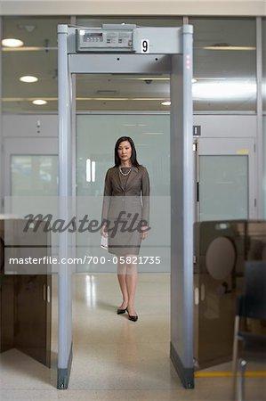 Businesswoman Going Through Airport Metal Detector