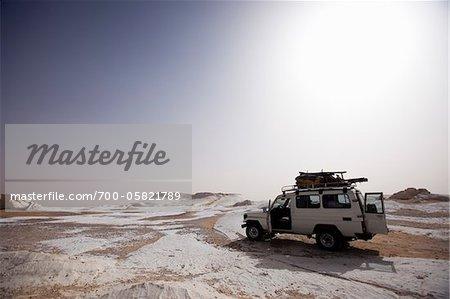 Jeep in White Desert, Libyan Desert, Egypt
