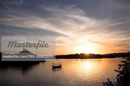 Boat on Nile River at Sunset, Edfu, Egypt