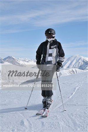 Teenage Boy Skiing, La Foux d'Allos, Allos, France