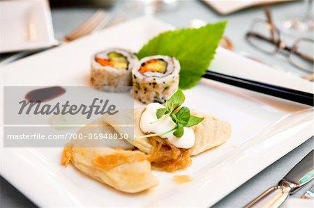 Sushi and Dumplings Appetizer
