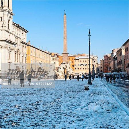 Piazza Navona in Winter, Rome, Lazio, Italy
