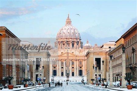 Via della Conciliazione and St Peter's Basilica in Winter, Rome, Lazio, Italy