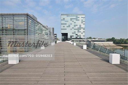 Footbridge, Media Harbour, Dusseldorf, North Rhine Westphalia, Germany