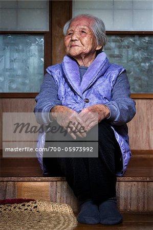 Portrait of Elderly Woman, Yo Village, Akari Towni, Amami Oshima, Amami Islands, Kagoshima Prefecture, Japan