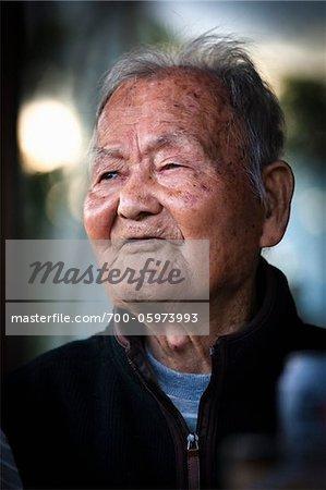Close-Up of Elderly Man, Isen, Tokunoshima Island, Kagoshima Prefecture, Japan