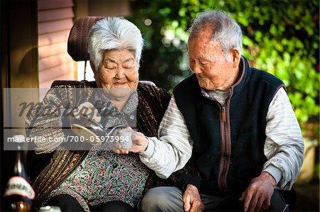 Elderly Couple Drinking Tea, Isen, Tokunoshima Island, Kagoshima Prefecture, Japan